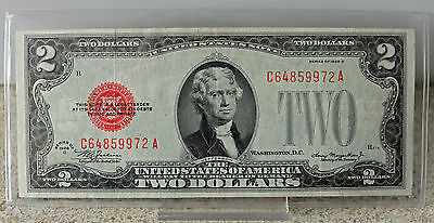 1928 D $2 Two Dollar Currency Paper Money VF FR#1505 Red Seal #9972 Circulated