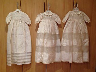 JOB LOT of 3 PRETTY ORIGINALS SILK CHRISTENING GOWNS - ALL NEW WITH TAGS