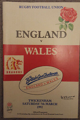 England v Wales Rugby Union Programme 1992 at Twickenham