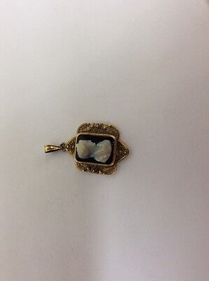 gold filled pendant with glass cameo,  Vintage