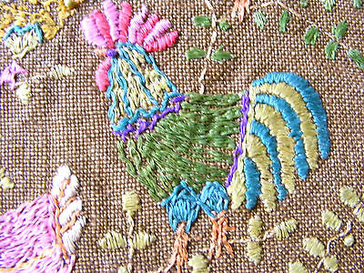Antique Hand Embroidery Sampler Arts & Crafts Linen Textile Roosters & Hens