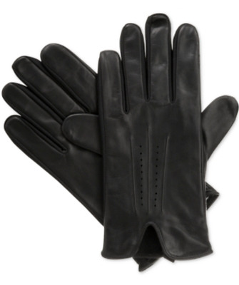 $255 Isotoner Men Black Leather Dress Smart Touch Thermal Winter Gloves Size L