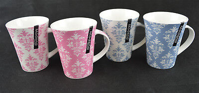 Fine New Bone China Set of 4 Tea Coffee Mugs Home Office 2 assorted patterns