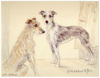 LURCHER COURSING LONG DOG FINE ART LIMITED EDITION PRINT - by Gill Evans