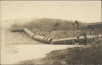 Unidentified RR Train Wreck c1910 Real Photo Postcard