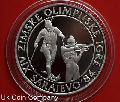 1983 Yugoslavia Silver Proof 500 Dinara Coin Winter Olympics Biathalon