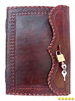 QualityArt Hnadmade Leather Journal Notebook Real Lock Key Diary Travel Blank