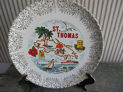 Fabulous Vintage St Thomas Virgin Islands Gold Rim Souvenir Plate