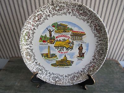 Beautiful   Vintage Massachusetts Large Souvenir State  Plate