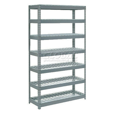 "Extra Heavy Duty Shelving 48""W x 18""D x 96""H With 7 Shelves, Wire Deck"