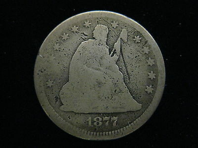 1877 U.s. Seated Liberty Quarter 25 Cent Coin