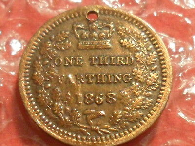 1868 Victoria third farthing - holed.