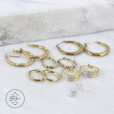 Sterling Silver - (5 Pairs) Assorted Gold Plate Earrings 9g - Lot IK7933