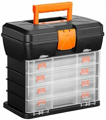 VonHaus Utility Tool Box Organiser Case With 4 Drawers and Adjustable Dividers