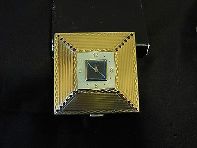 Vintage Amere Powder Compact With Clock-Art Deco-Red Rhinestone