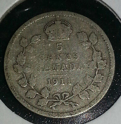 1911 George V Canada Five Cent Coin   92.5 Silver Free Shipping