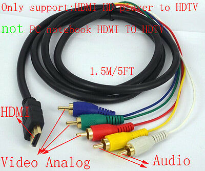 hdmi to 5 rca male audio video component convert cable for hdtv tv box 1080p dvd Xbox Component Cable Connection Diagram