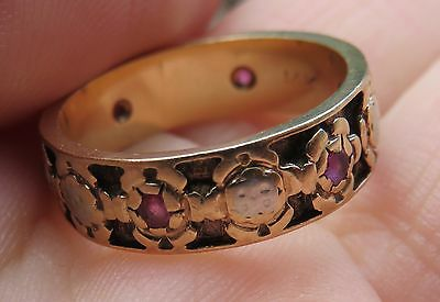 14K Vintage Antique Ruby Floral Art Deco Eternity Band Anniversary Wedding Ring