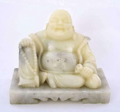 Old Chinese Soapstone Stone Carved Carving Happy Buddha Figure Figurine