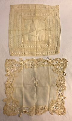 2 Antique Vintage Finely Embroidered Lace Handkerchiefs