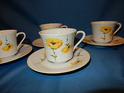 Set of 4 Cotillion Vivian Yellow Poppy Tea Coffee Cups & Saucers
