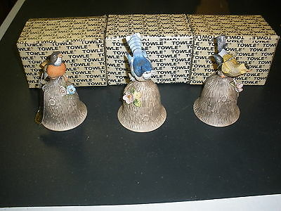 Vintage Lot Of 3 Towle Bells Robin, Blue Jay, Oriole
