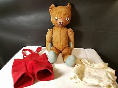 Antique Brown Jointed Teddy Bear with clothes