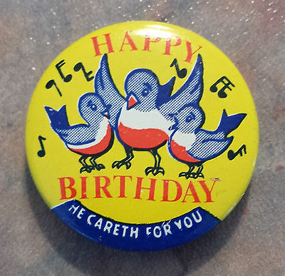 Happy Birthday He Careth for You Standard Publishing Vintage Religious Pinback