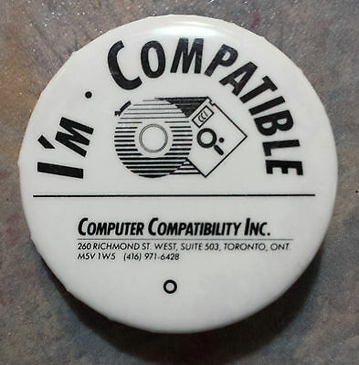 """I'm Compatible Computer Compatibility Inc Advertising Pinback 1980s 1 1/2"""""""