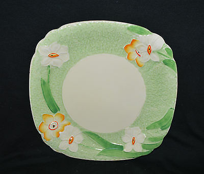 Vintage Grindley Green & White Square Plate With Flowers In Each Corner England