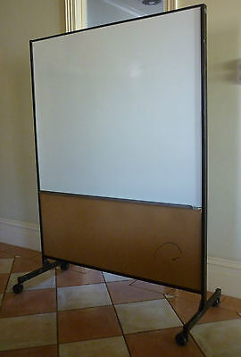 Portable Whiteboard and Pinboard on Castors