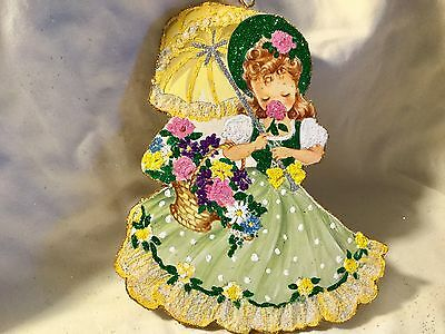 Girl with Yellow Umbrella*Vintage Glittered Card Image*Glittered Easter Ornament