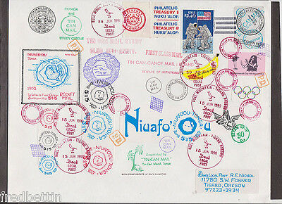 Tonga - 1990 Tin Can cover with many handstamps mailed to Tigard, Ore  #1