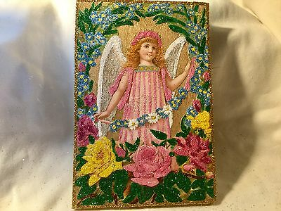 Victorian Angel with Flowers*Vintage Glittered Image*Glittered Easter Ornament