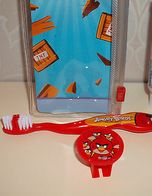 ANGRY BIRDS Travel Kit 1Toothbrush & CAP in  see through case RED