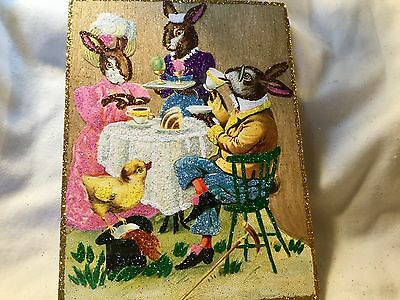 Bunny Couple Fine Dining*Vintage Glittered Card Image*Glittered Easter Ornament