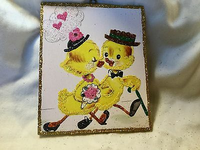 Chicks on a Date*Vintage Glittered Card Image*Glittered Easter Ornament