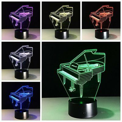Piano 3D LED USB Night Light 7 Colors Change Touch Switch Table Lamp Art Decor