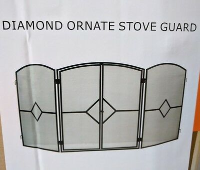 Diamond Ornate Stove Guard Fire Screen Folding Large Black Spark guard