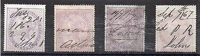 GB = QV One Penny INLAND REVENUE and RECEIPT stamps (4). Different Shades. Used.