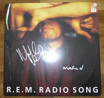 R.E.M.A Vinyl Disc Cover-HAND Signed By 2 Michaels With a COA & Vinyl RARE