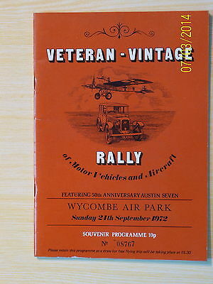 Veteran-Vintage Rally Programme, Wycombe Air Park 1972 Aircraft and Vehicles