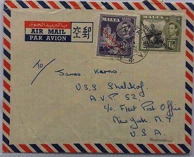 Malta 1953 Airmail Cover To United States Navy Ship Shelikof C/o Fpo New York