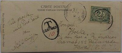 Egypt 1912 Post Card Sent By Netherlands Postal Agent To Java + Singapore Charge