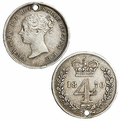 Victoria Maundy 4 penny (groat) piece. Holed. 1870.