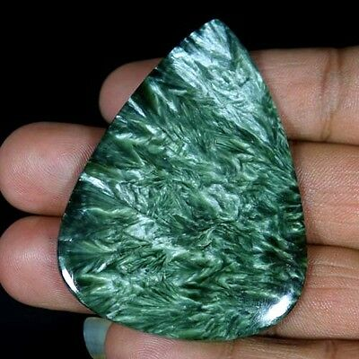 107.10Cts. 100%Natural Adorable Green Seraphinite Pear Cabochon AAA Designer Cab