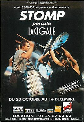 Stomp percute La Cigale music spectacle advertising postcard