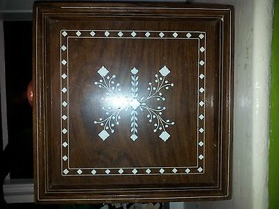 Ivory inlaid antique wooden tray