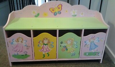 Kids  wooden fairy storage cupboard and bench toy box