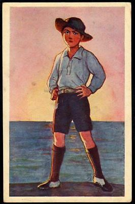 Japan Vintage Art Postcard - Young Man in Hat - Boy or Sea Scout?
